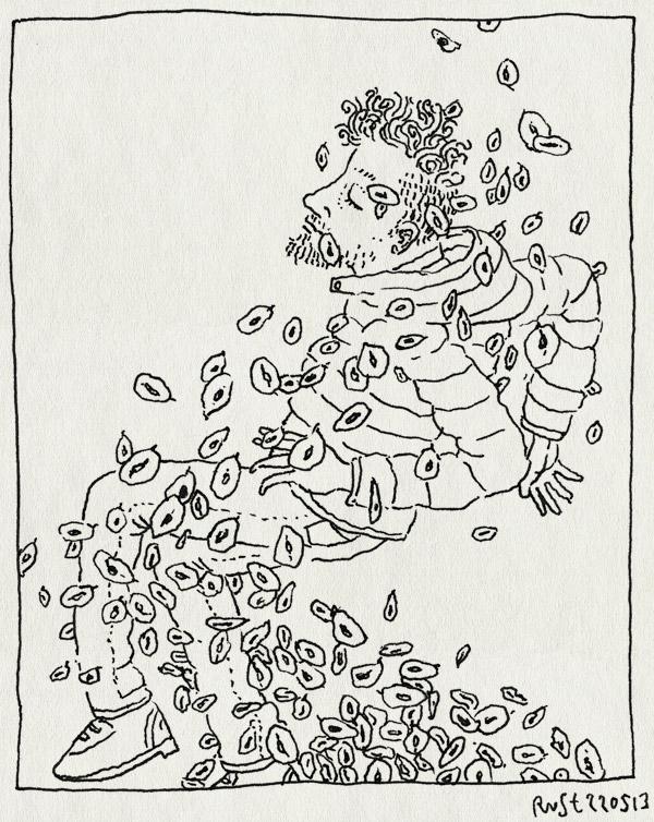 tekening 2189, amsterdam, iep, iependubbeltjes, iepensneeuw, iepenzaden, lente, wervelwind, zaden