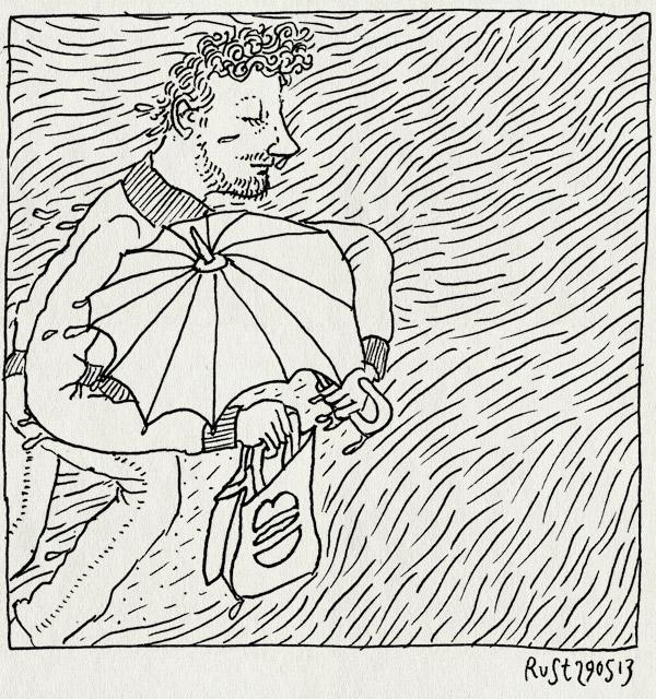tekening 2196, afhalen, burgermeester, gieten, paraplu proiriteiten, regen, regenen, zakje