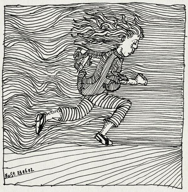 tekening 22, rennen, tegenwind, wind
