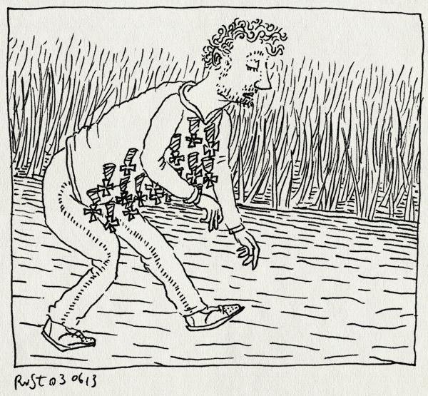 tekening 2201, avondvierdaagse, lopen, medailles, topzwaar, wandelen, zwaar