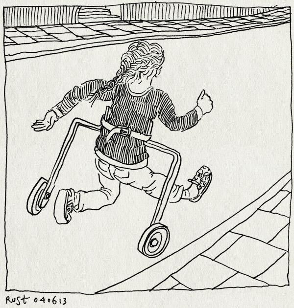 tekening 2202, alwine, eerste fiets, fietsje, rennen, straat, trots, zijwieltjes