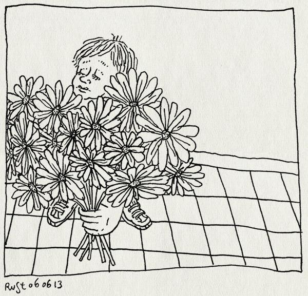 tekening 2204, avondvierdaagse, bloemen, bos, gehaald, gerbera's, midas, tweede keer