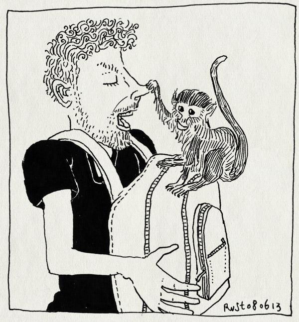 tekening 2206, aapje, apenheul, doodshoofdaapje, neus, tas