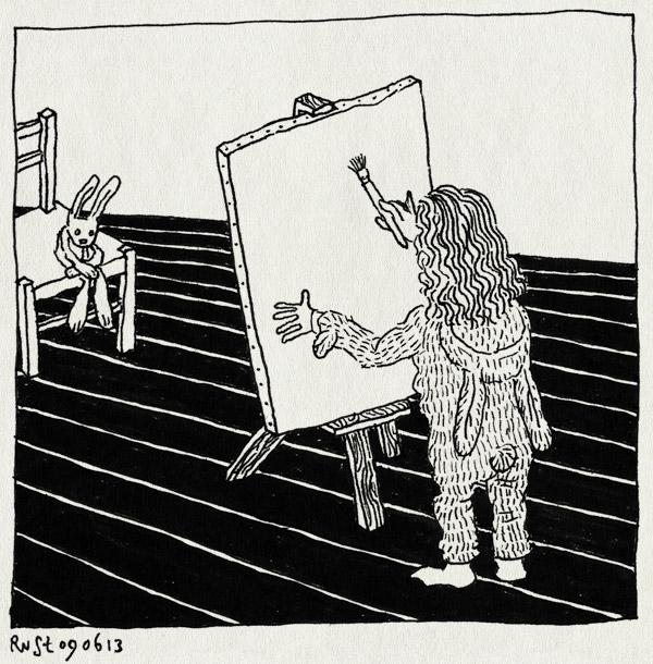 tekening 2207, alwine, canvas, knuffels, konijntje meijer, portret, portretteren, schilderen