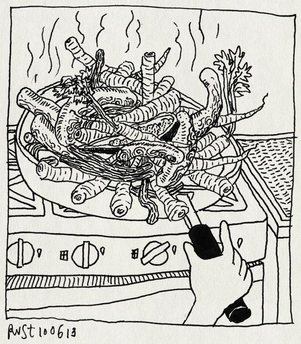 tekening 2208, koken, pan, vol, worst, worstjes, wortelen, wortels