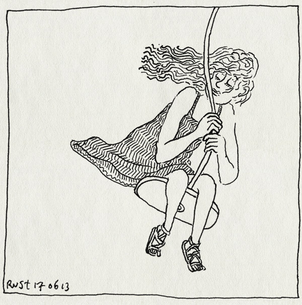 tekening 2215, alwine, amstelpark, haren, jurk, kabelbaan, wind