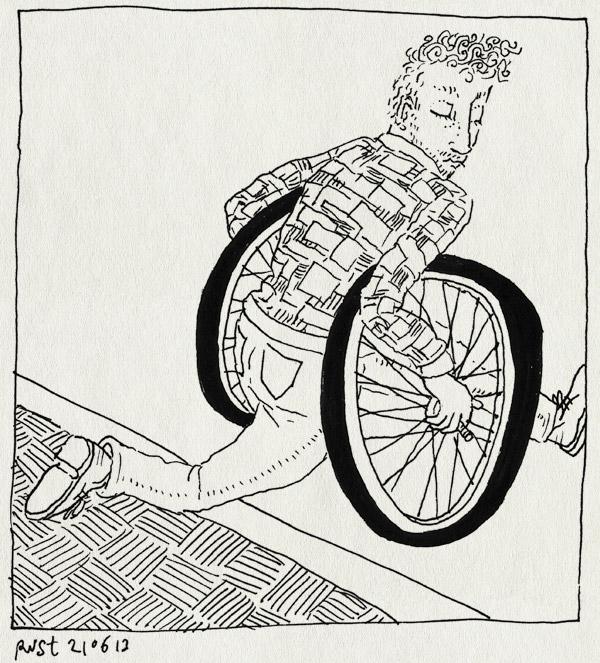 tekening 2219, alwine, fiets, oversteken, wielen, zijwielen, zijwieltjes