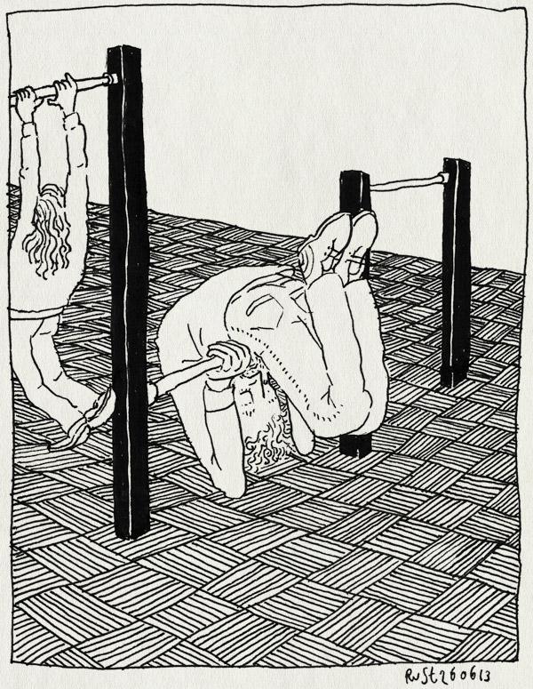 tekening 2224, alwine, draaien, groot, hoog, ik, klein, klimrek, kopjeduikelen, laag