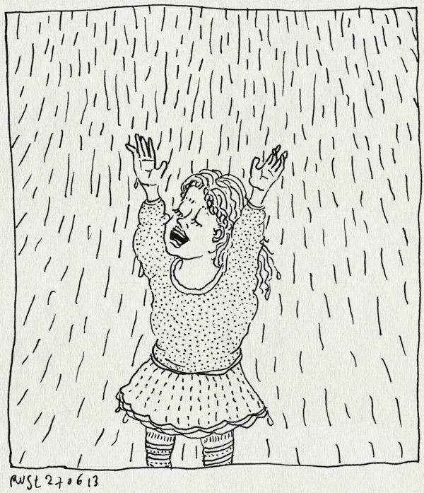 tekening 2225, alwine, hoosbui, jurk, muziekgebouw, regen, voorstelling, zingen, zingzo