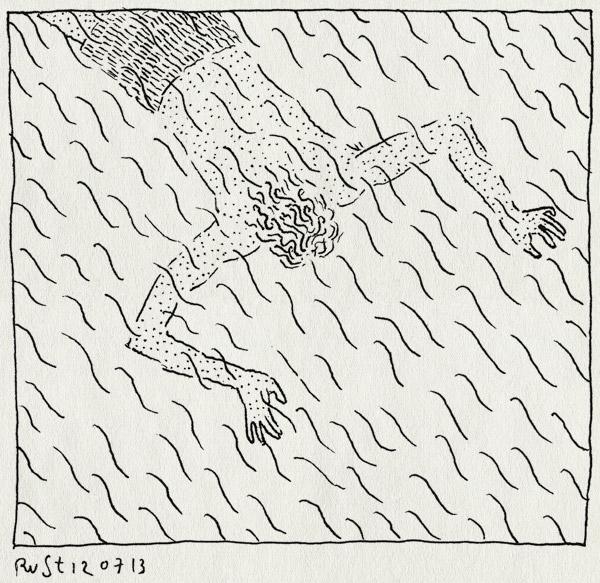 tekening 2240, casa san carlo, duiken, italie, liggen, onderwater, umbrie, vakantie2013, zwembad