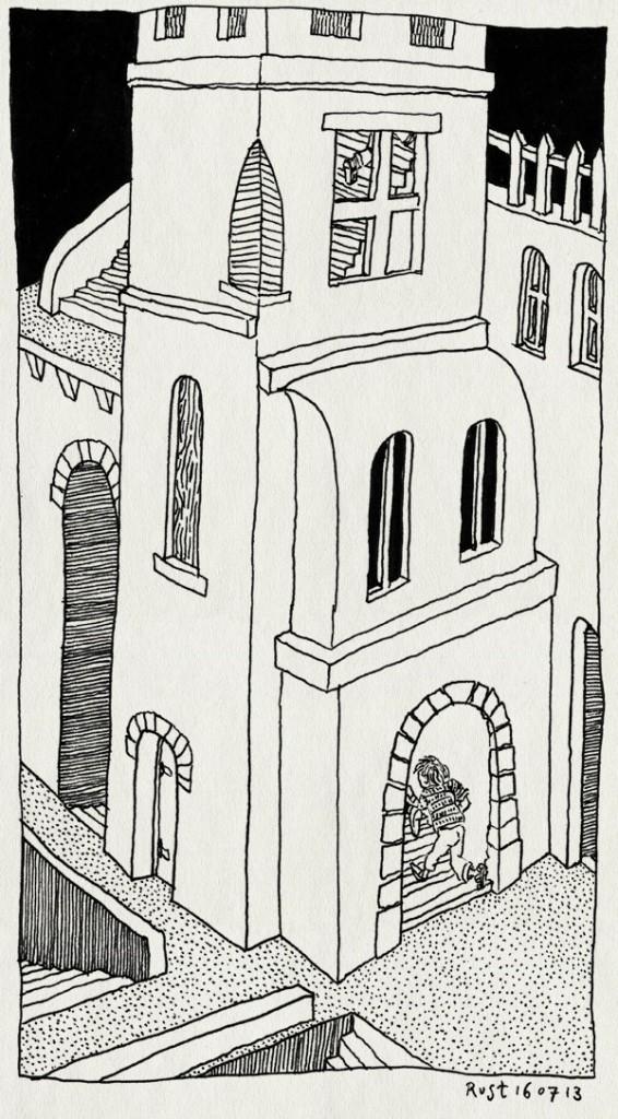 tekening 2244, bistrot del duca, citta della pieve, eten, italie, kinderen, operazangeres, restaurant, spelen, trap, trappen, trappetjes, umbrie, vakantie2013
