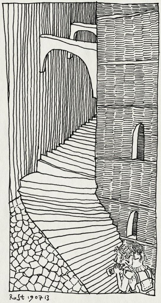 tekening 2247, alwine, heet, italie, klimmen, nek, perugia, tillen, trappen, trappetjes, umbrie, vakantie2013, verkeerd geparkeerd, zwaar, zweet