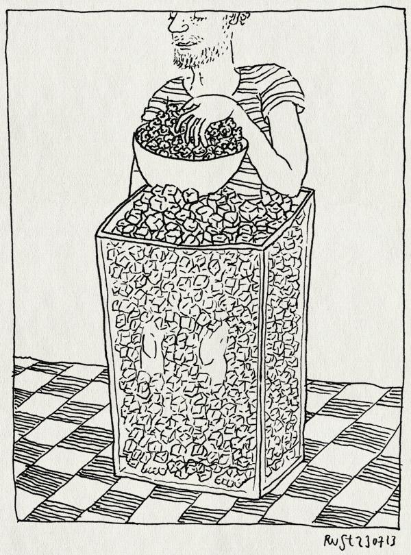 tekening 2251, afkoelen, bak, heet, hittegolf, ijsklontjes, popcorn, popcorn in bad, zomer
