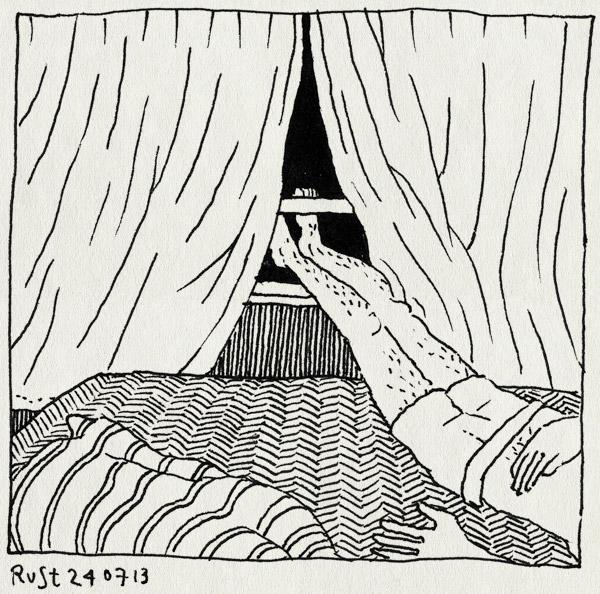tekening 2252, bed, deken, heet, raam, verkoeling, voeten, warm, zomer