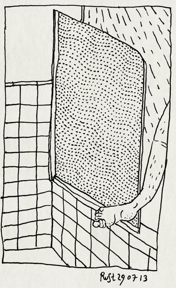 tekening 2257, bad, douchen, douchescherm, pleister, verband, voet