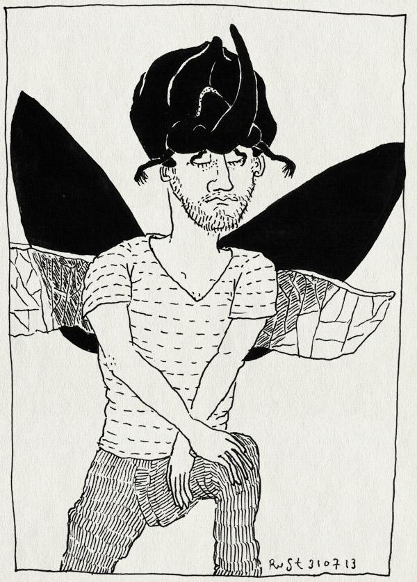 tekening 2259, casa san carlo, masker, neushoornkever, rino, verkleden, vleugels, vliegen