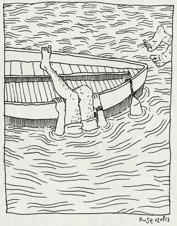 tekening 2261, afkoelen, amstel, arjan, baren, boot, duiken, heet, overboord, teen, water, zomer, zwemmen