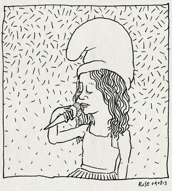tekening 2263, alwine ijs, ijsje, smurf, smurfehoed, smurfenijs