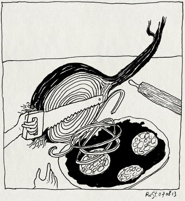tekening 2266, groot, klein, pizza, pizza-avond, ui, zaag