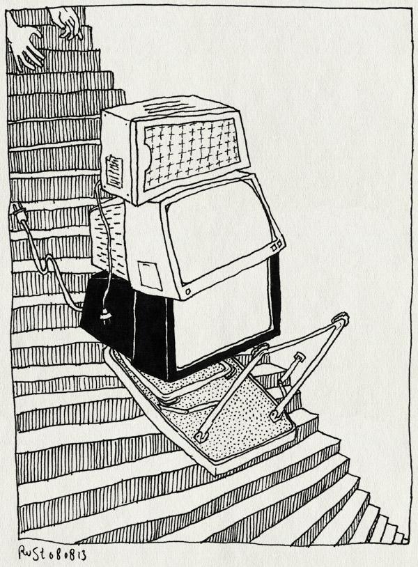 tekening 2267, glijden, kapot, laten vallen, magnetron, monitor, opruimen, tafeltje, televisie, trap, zolder