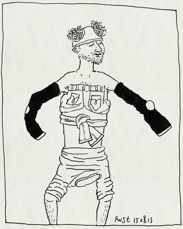 tekening 2274, aankleden, broek, onderbroek, shirt, verkeerd