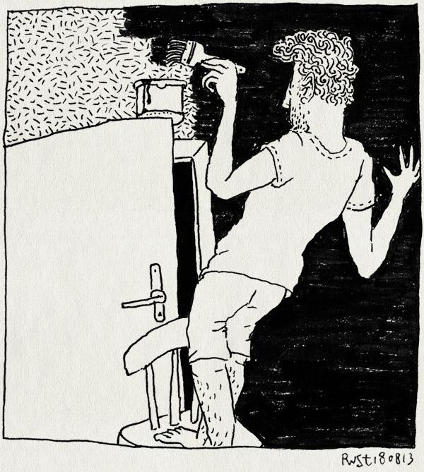 tekening 2277, gevaarlijk, kamer, kwast, midas, muur, rood, schilderen, stoel, verf