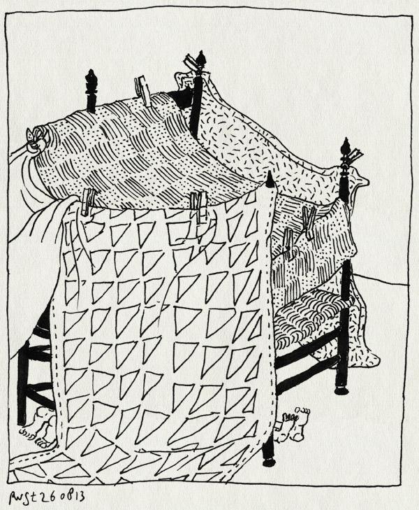 tekening 2285, dekens, hut, stoelen