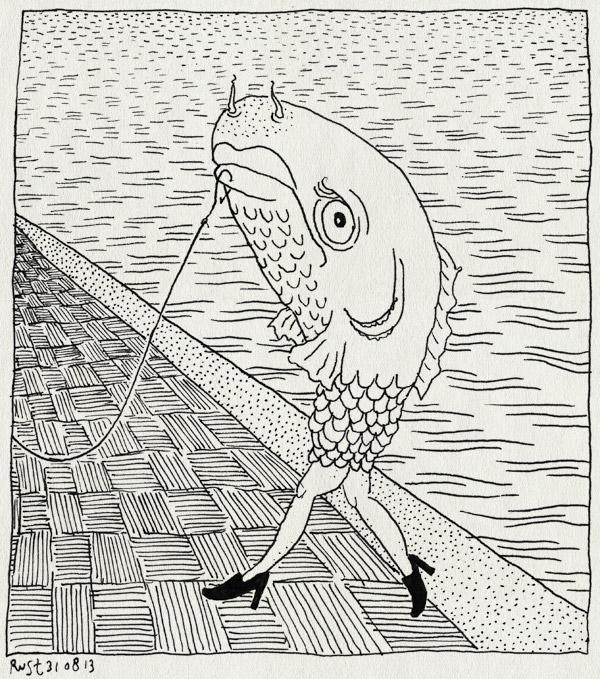 tekening 2290, gevangen, hengel, uitmarkt, vis, vissenpak, water