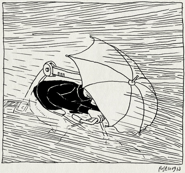 tekening 2300, fiets, fietsen, paraplu, regen, showers, slagregen, statief