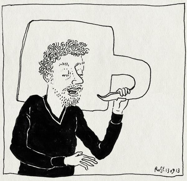 tekening 2303, over jezelf praten, spraakwolkje, spreken, strip, zelf