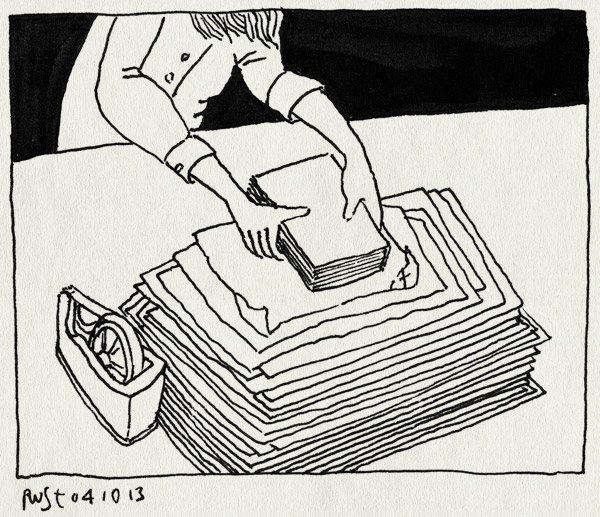 tekening 2324, arjan benning, boek, erfgenaam, filmen, grisham, inpakken, inpakmachine, preroll, werk