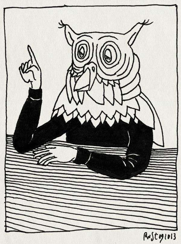 tekening 2329, betweter, idee, uil, verhalen, weten