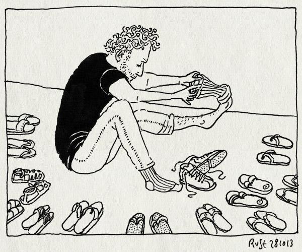 tekening 2348, aanstaren, fabriek, india, onhandig, schoenen, slippers, tirupur
