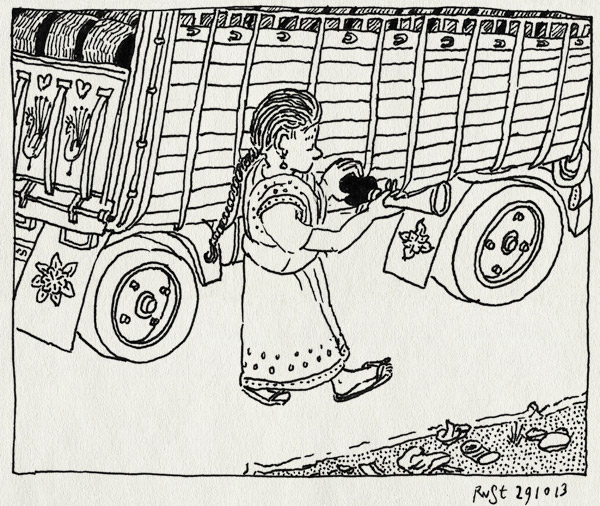 tekening 2349, afval, ashok leyland, fair wear foundation, honk, india, lorry, naaister, tirupur, toeteren, troep, verkeer, weg, weggooien, worker