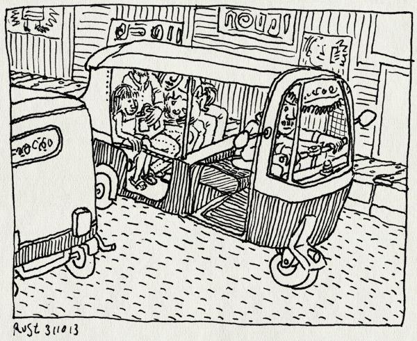 tekening 2351, auto, auto rikshaw, bangalore, city market, emma, india, kate, simon, sophie, tuktuk