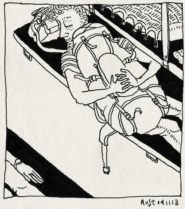 tekening 2355, 40 uur, bangalore, delhi, india, karnataka express, reis, rugzak, slaaptrein, slapen, trein, vasthouden, zeker