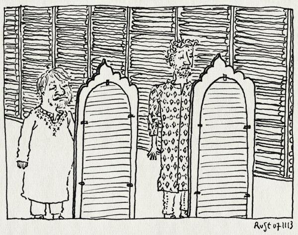 tekening 2358, abhimilia, anthon beeke, ashkan, delhi, delhi haat, emilia, huwelijk, india, kurta, mouwlengte, passen, reunie, sirwani, sleeve, spiegel, winkel