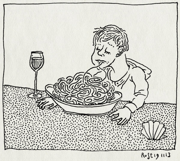 tekening 2370, cavallino, midas, pasta, pesto, spaghetti