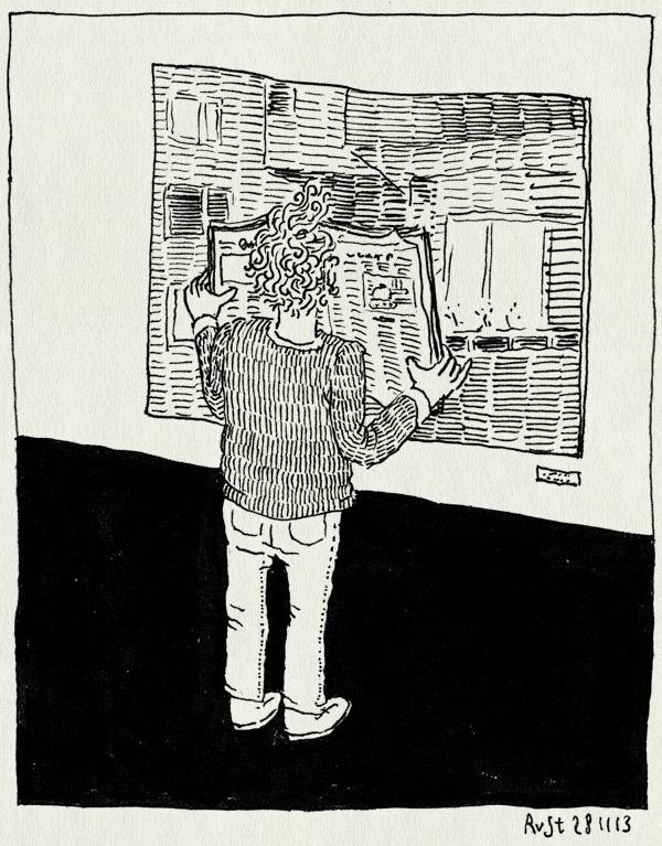 tekening 2379, amsterdam, balkon, bezoek, krant, kranten, kunst, kunstbeurs, lezen, martijn hesseling, pan
