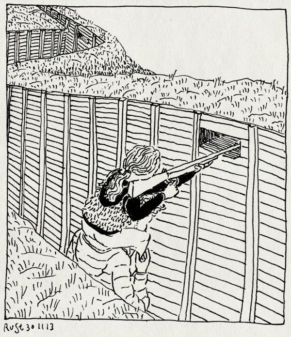tekening 2381, alwine, geweer, grebbelinie, kazemat, loopgraven, schieten, schietgat, woudenberg