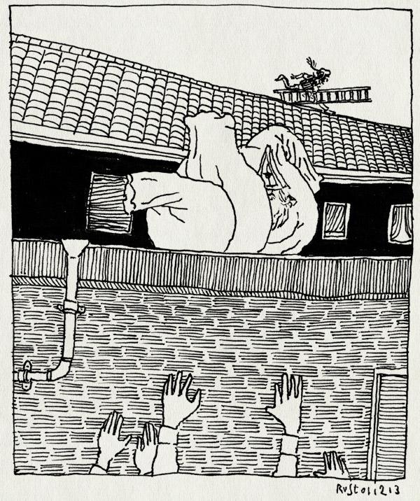 tekening 2382, dak, eveline, ladder. verdopen, nathan, noord scharwoude, sinterklaas, snifmill, spannend, zakken, zwarte piet