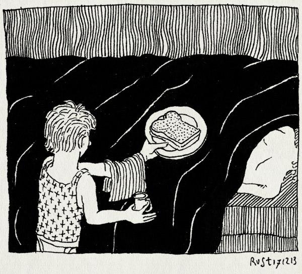 tekening 2398, bed, brammetje baas, brood, lief, midas, ober, ontbijt op bed, zelfverzonnen