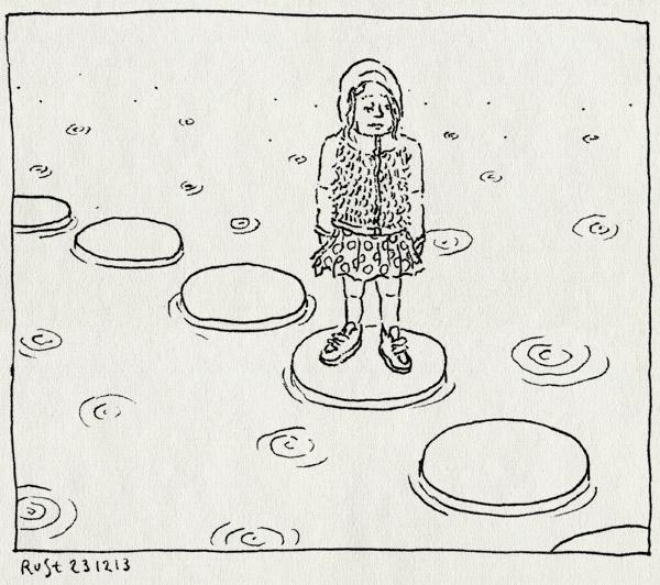 tekening 2404, alwine, amstelpark, capuchon, druppels, regen, stepping stones, vijver, water