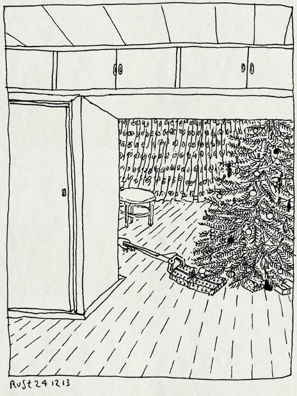 tekening 2405, boom, cadeautjes, kerstboom, kerstman, maasstraat, neerleggen, stiekem