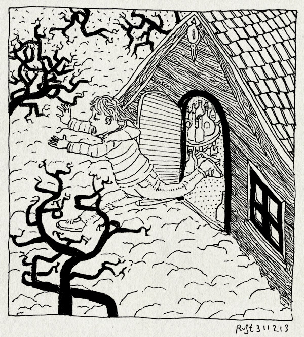 tekening 2412, arjen, bang, eng, huisje, janine, joost, oudejaarsdag, professor bokkegeit, professor geitebok, rennen, speurtocht, stem, westeremden