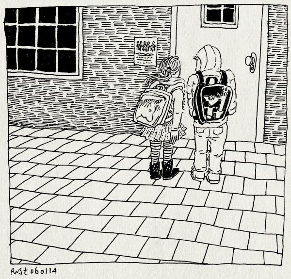 tekening 2418, alwine, dicht, donker, eerste schooldag, maandag, midas, school, schooltas