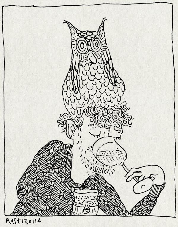 tekening 2424, Arendsnest, bier, drank, evan, frienden, jurgen, mattijs, muts, proeven, uil, uiltje, vrienden