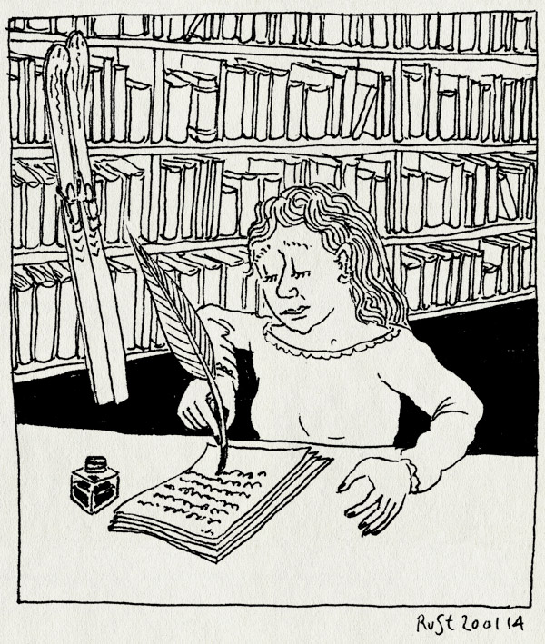 tekening 2432, boek, boekenkast, ganzenveer, martine, martine de jong, schrijfster, schrijven, ski, wintersport