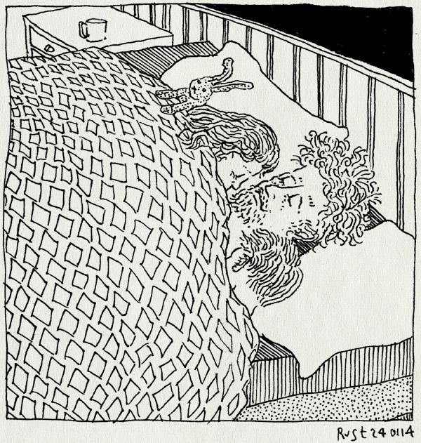tekening 2436, alwine, bed, drie, konijntje meijer, martine, midas, papa, wintersport