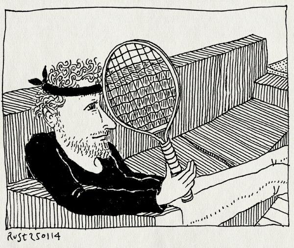 tekening 2437, alleen thuis, australien open, bank, eurosport, laat, racket, televisie, tennis